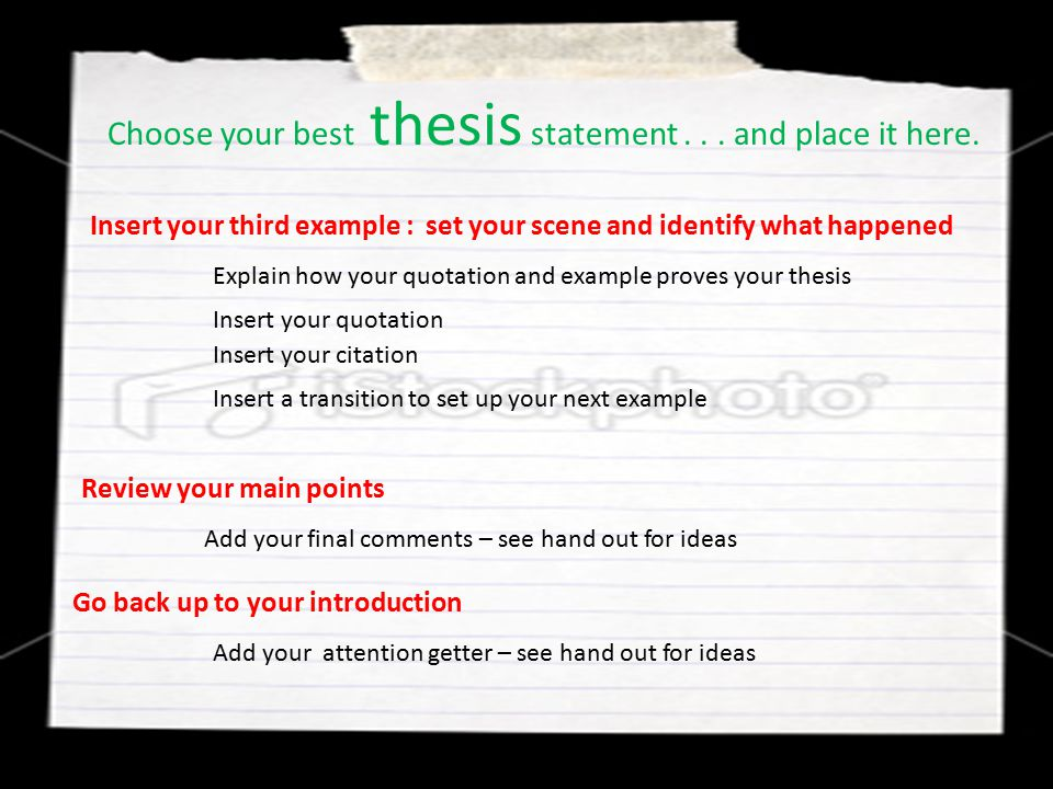 Choose your best thesis statement . . . and place it here.