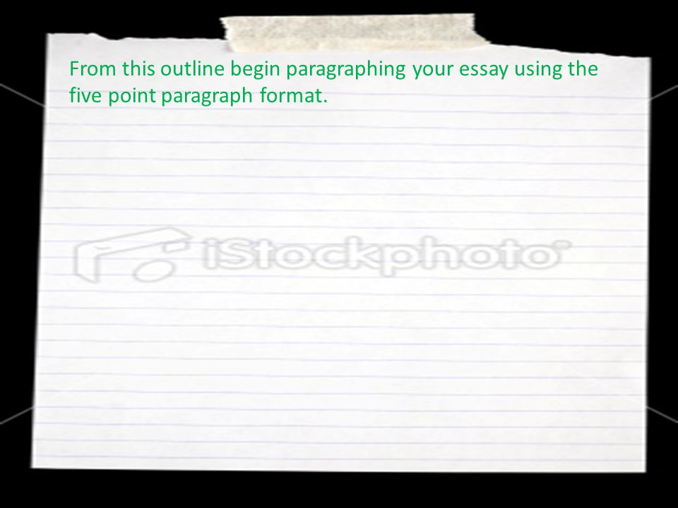 From this outline begin paragraphing your essay using the five point paragraph format.