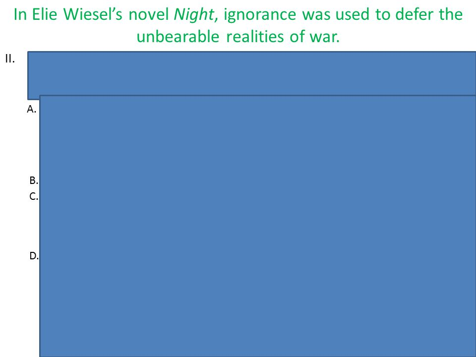 In Elie Wiesel's novel Night, ignorance was used to defer the unbearable realities of war.