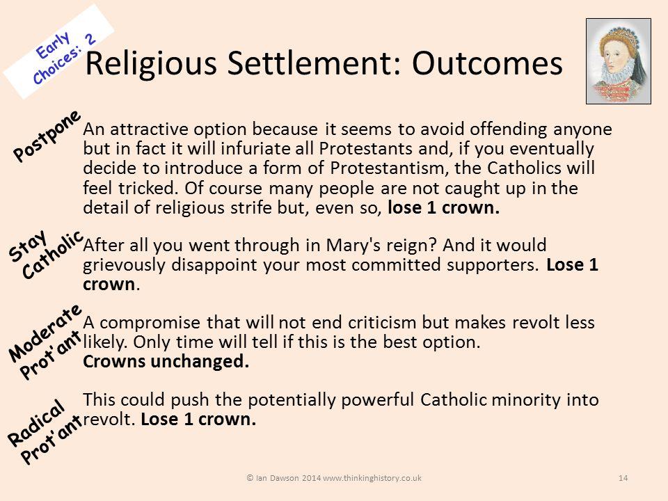 Religious Settlement: Outcomes