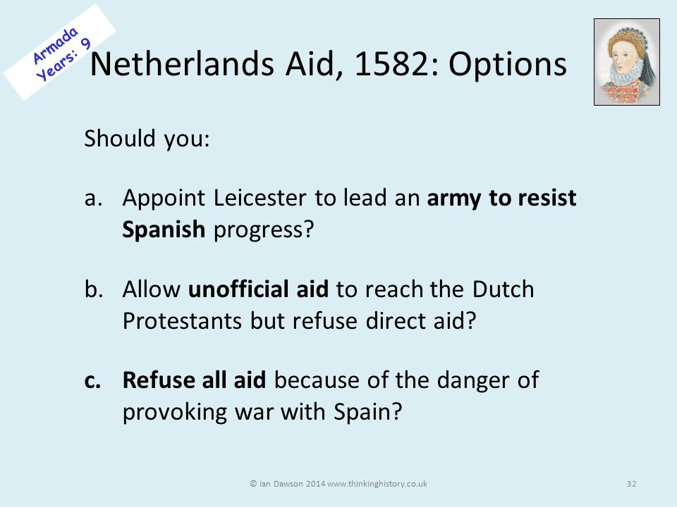 Netherlands Aid, 1582: Options