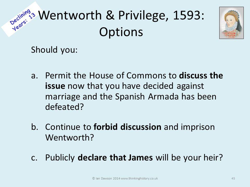 Wentworth & Privilege, 1593: Options
