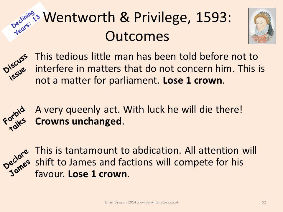 Wentworth & Privilege, 1593: Outcomes