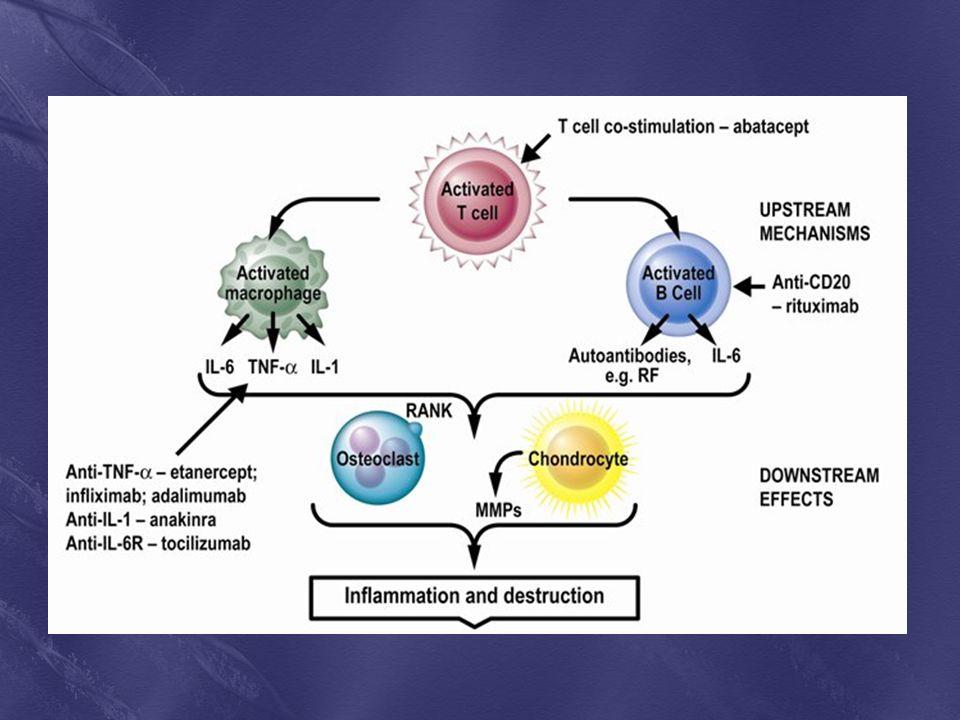 Figure 1: Immunopathogenesis of rheumatoid arthritis, depicting the targets of biologic therapies