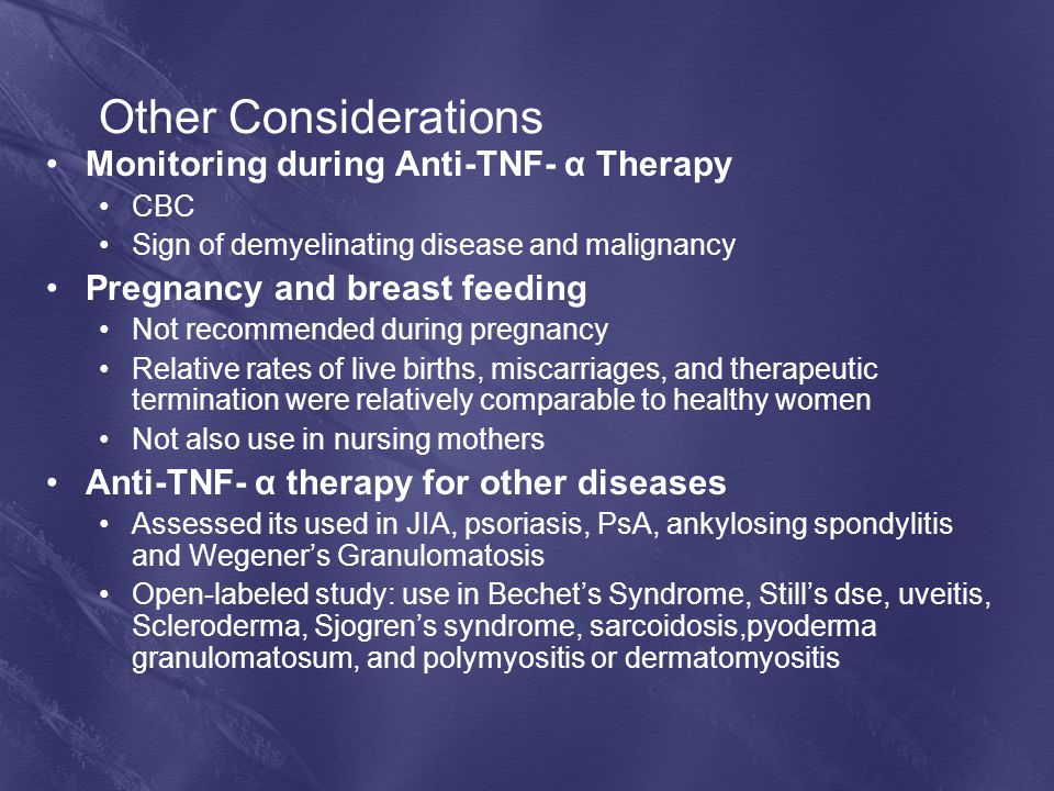 Other Considerations Monitoring during Anti-TNF- α Therapy