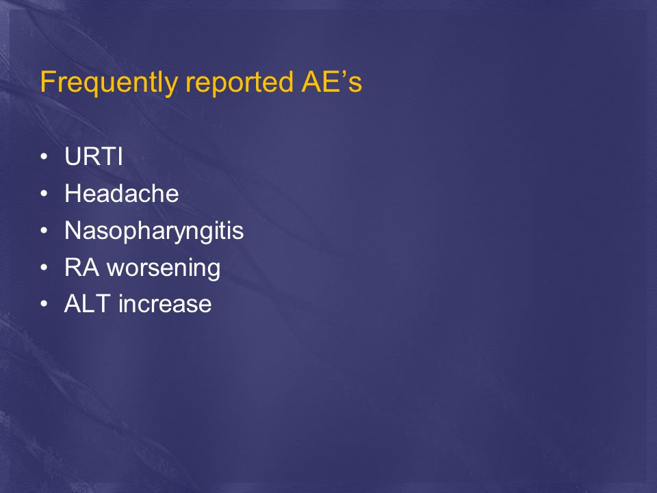 Frequently reported AE's