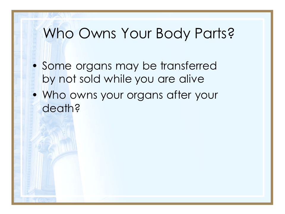 Who Owns Your Body Parts