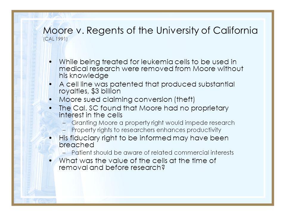 Moore v. Regents of the University of California (CAL 1991)