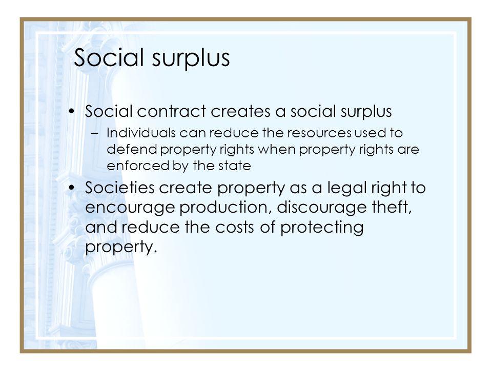 Social surplus Social contract creates a social surplus