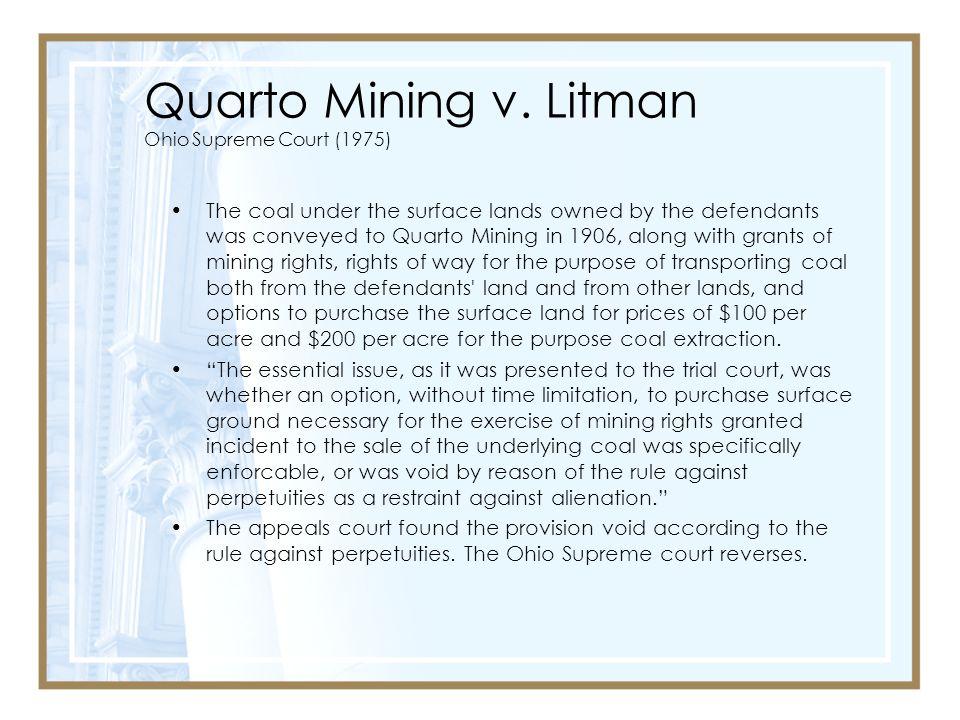 Quarto Mining v. Litman Ohio Supreme Court (1975)