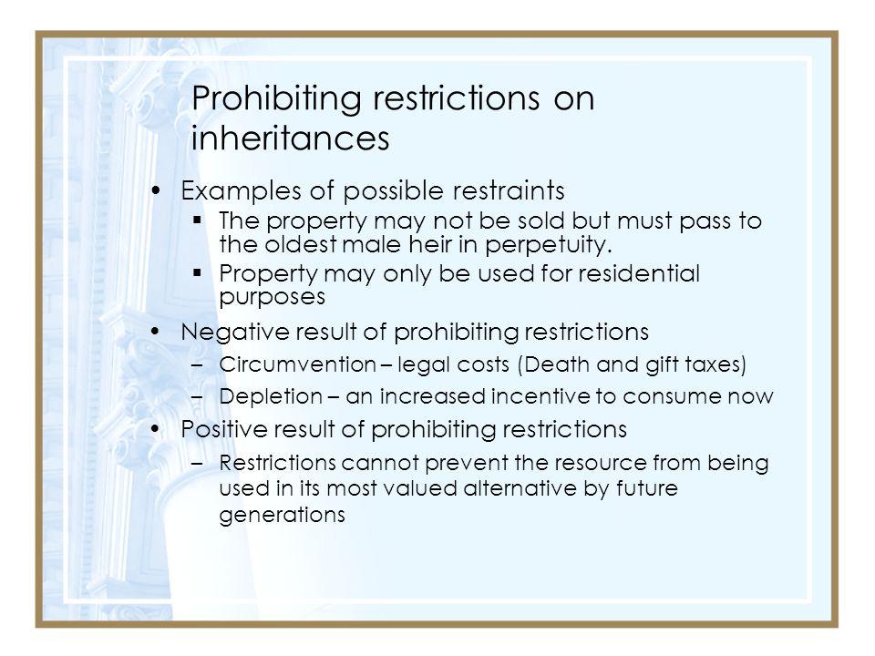 Prohibiting restrictions on inheritances