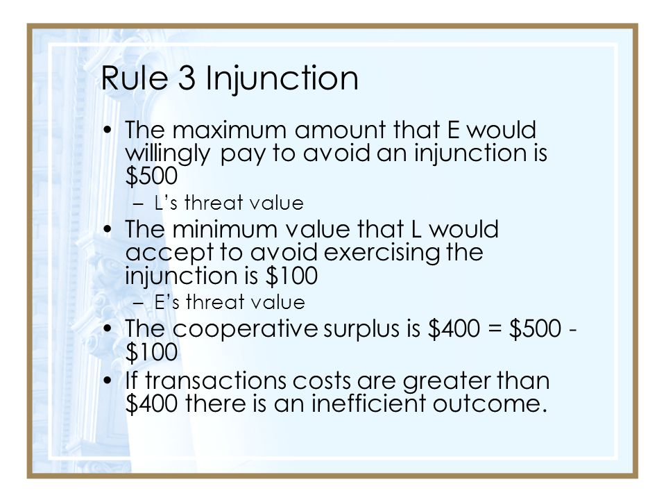 Rule 3 Injunction The maximum amount that E would willingly pay to avoid an injunction is $500. L's threat value.