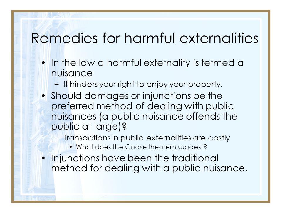 Remedies for harmful externalities