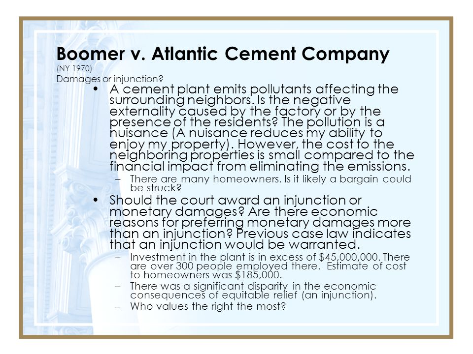 Boomer v. Atlantic Cement Company (NY 1970) Damages or injunction