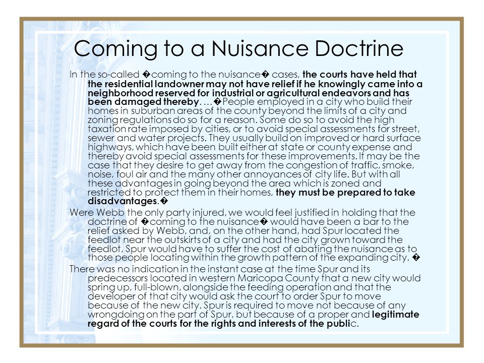Coming to a Nuisance Doctrine