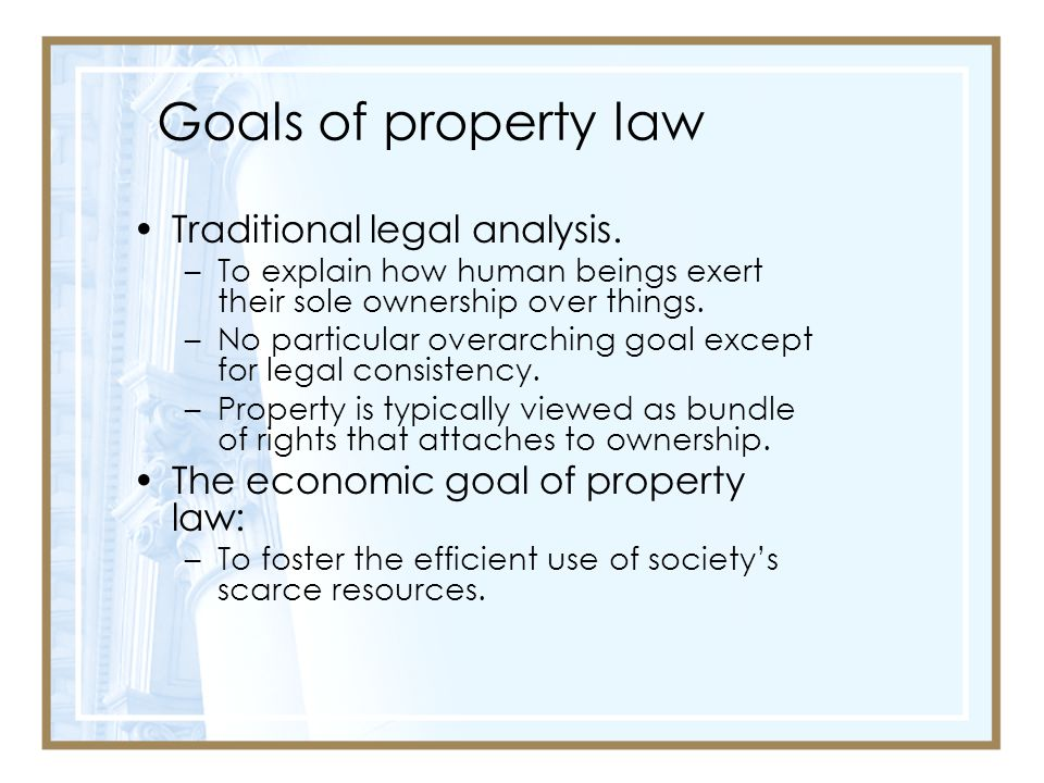Goals of property law Traditional legal analysis.