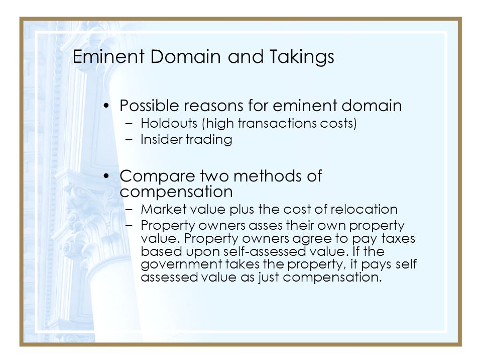 Eminent Domain and Takings