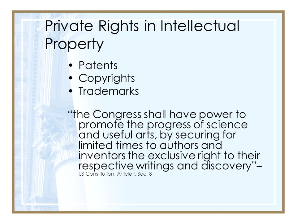 Private Rights in Intellectual Property