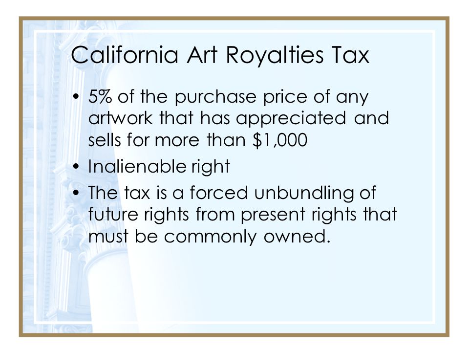 California Art Royalties Tax