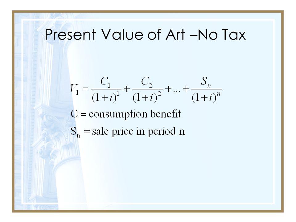 Present Value of Art –No Tax