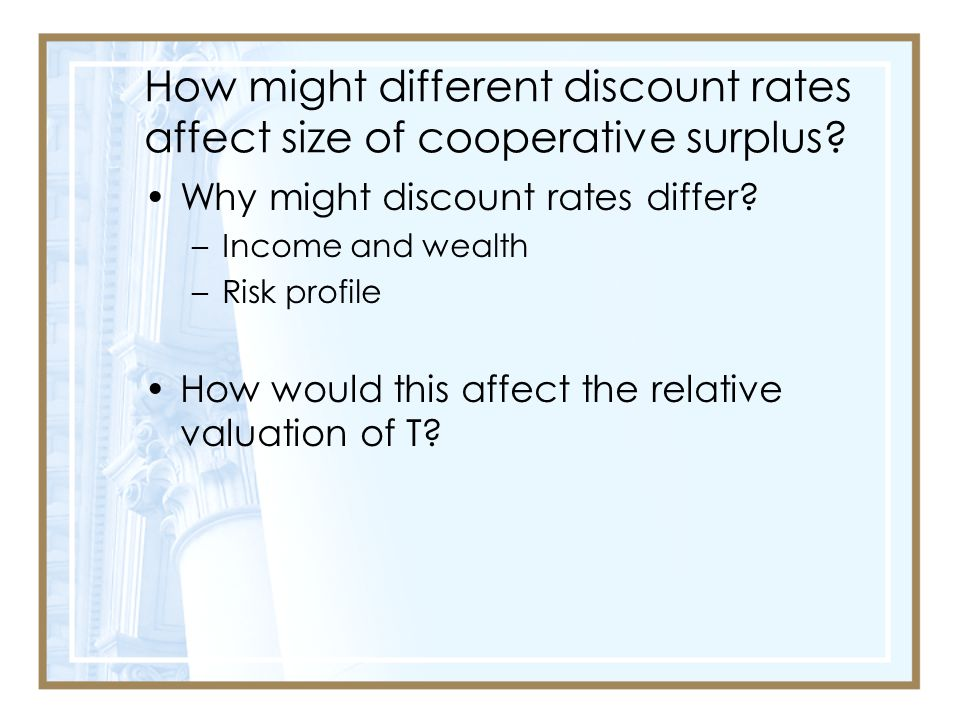 How might different discount rates affect size of cooperative surplus
