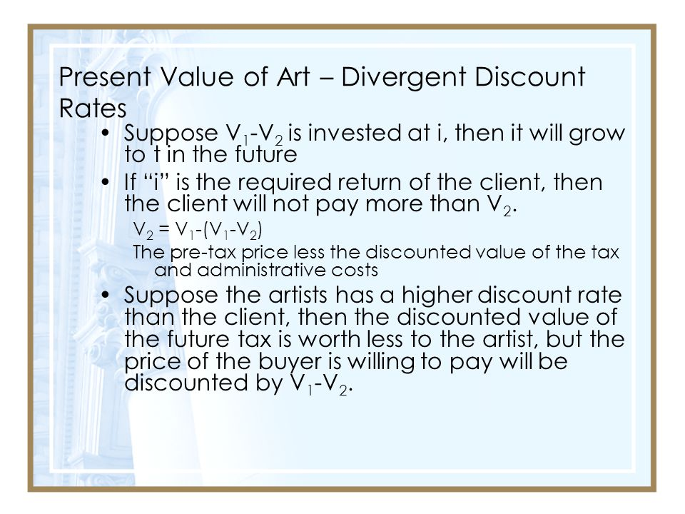 Present Value of Art – Divergent Discount Rates