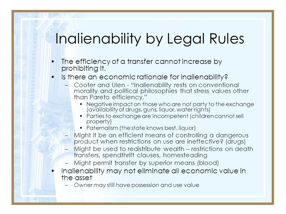 Inalienability by Legal Rules