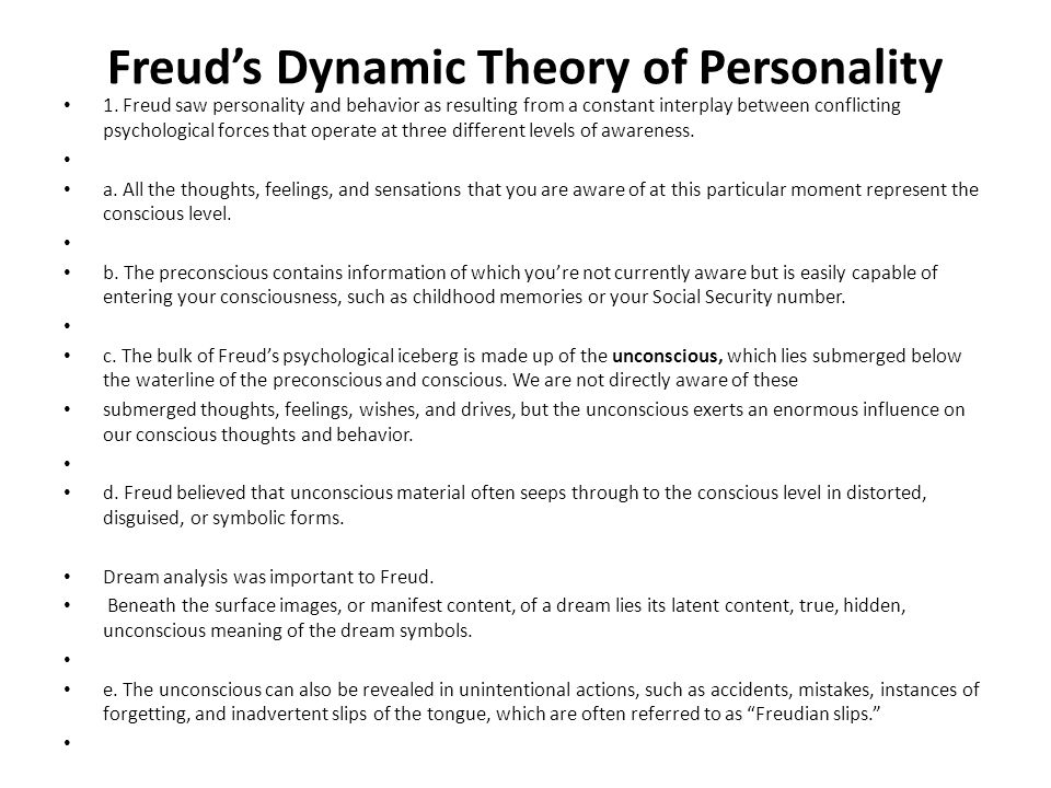 Freud's Dynamic Theory of Personality