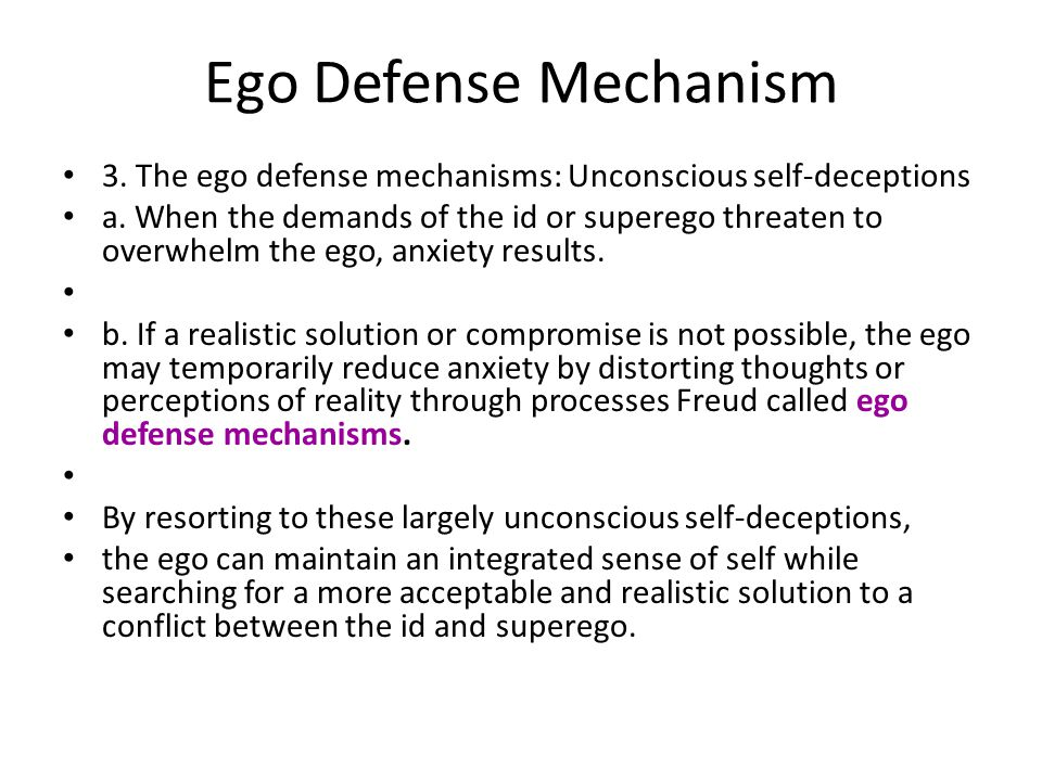 the ego as a defense mechanism essay View notes - defense mechanisms essay from psych 1101 at university of central florida the structural model of personality contains the id, ego, and superego and within each of these groups freud.