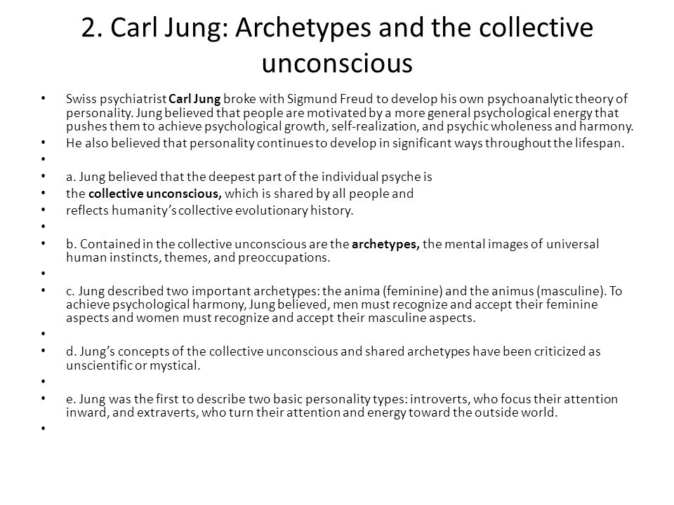 2. Carl Jung: Archetypes and the collective unconscious