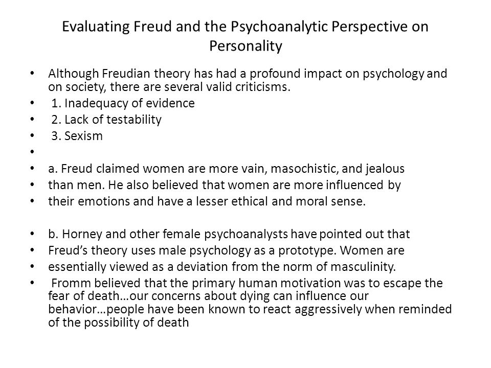 Evaluating Freud and the Psychoanalytic Perspective on Personality