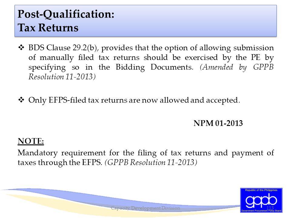 Post-Qualification: Tax Returns