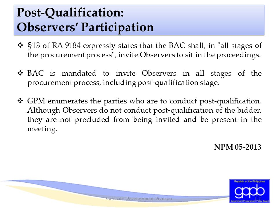Post-Qualification: Observers' Participation