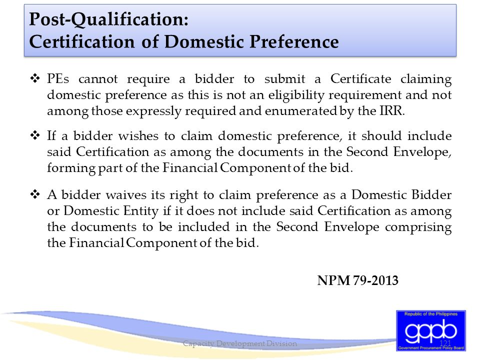 Post-Qualification: Certification of Domestic Preference