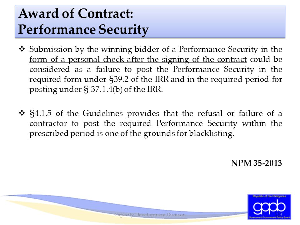 Award of Contract: Performance Security