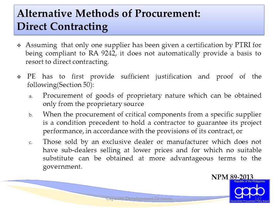 Alternative Methods of Procurement: Direct Contracting