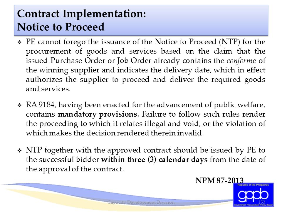 Contract Implementation: Notice to Proceed