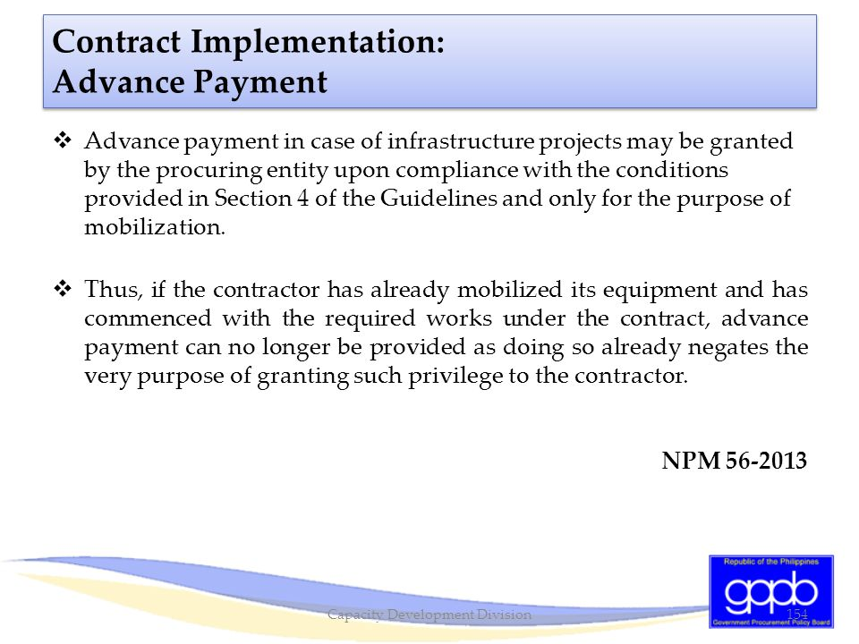 Contract Implementation: Advance Payment