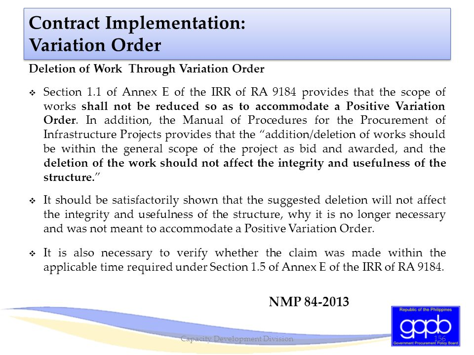 Contract Implementation: Variation Order