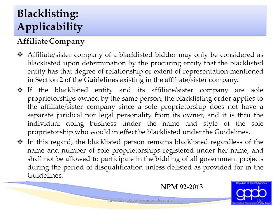Blacklisting: Applicability