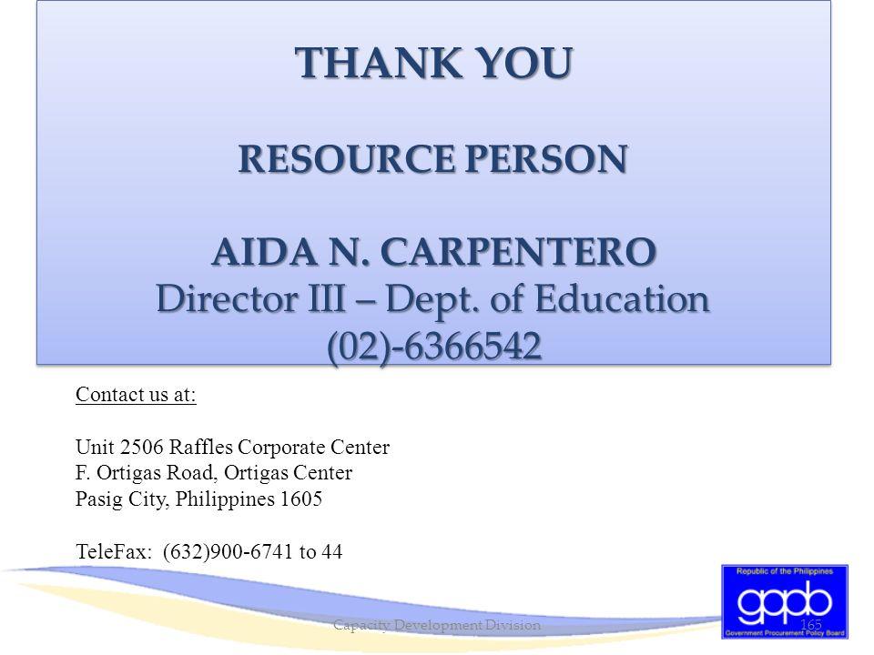 THANK YOU RESOURCE PERSON AIDA N. CARPENTERO