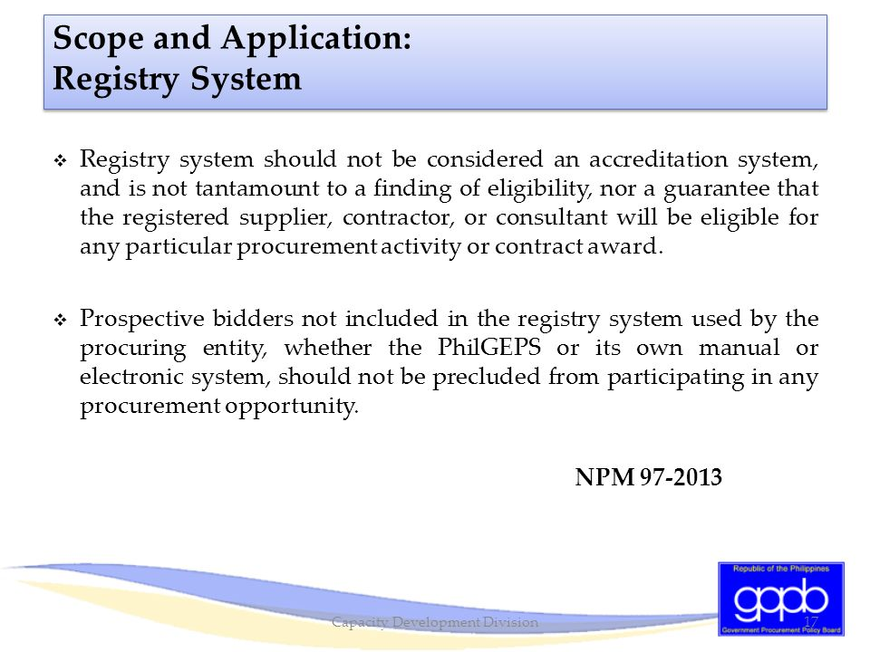 Scope and Application: Registry System