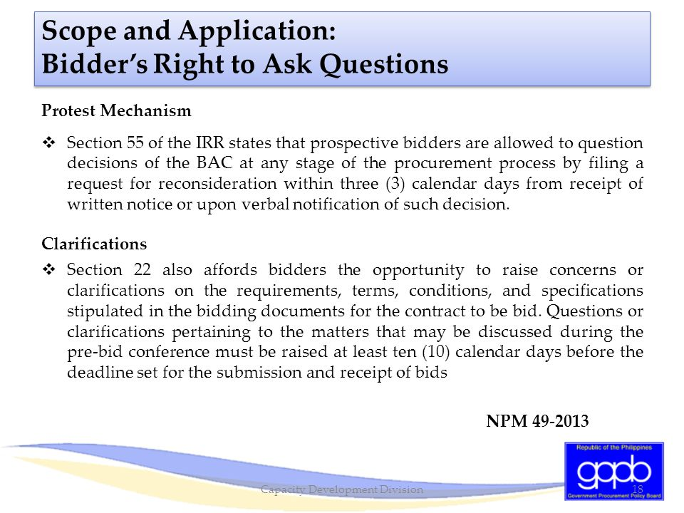 Scope and Application: Bidder's Right to Ask Questions