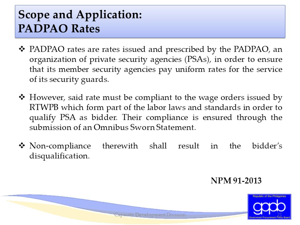 Scope and Application: PADPAO Rates