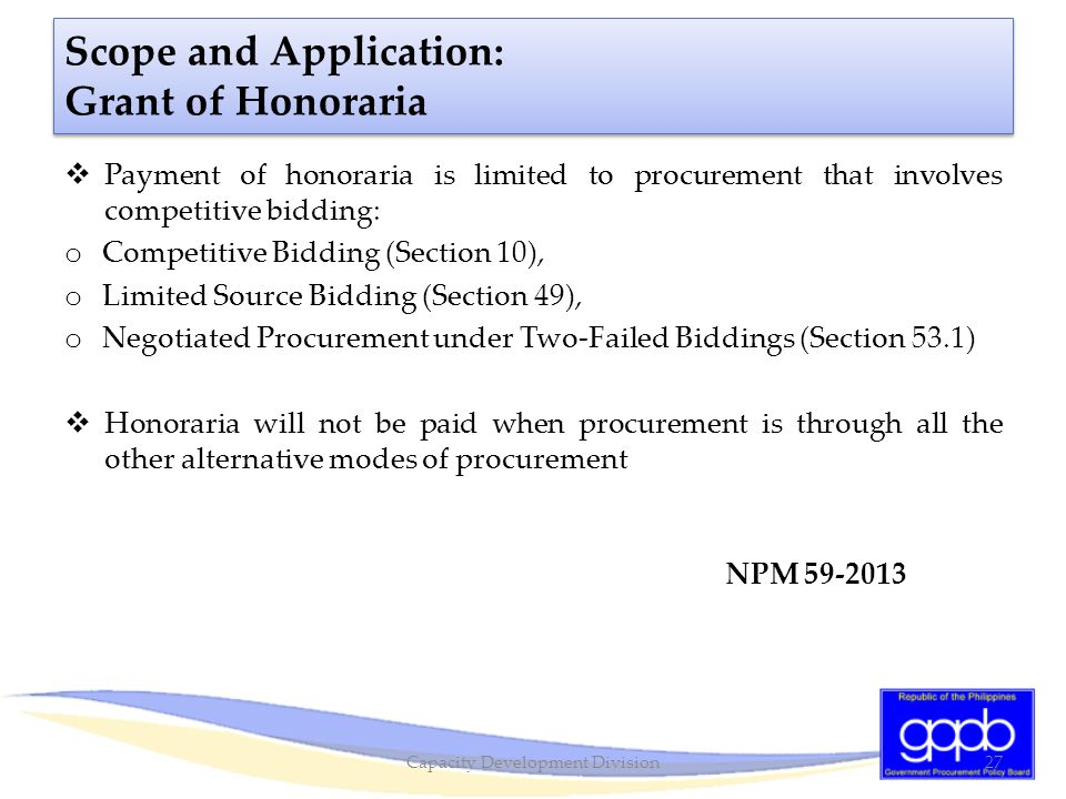 Scope and Application: Grant of Honoraria