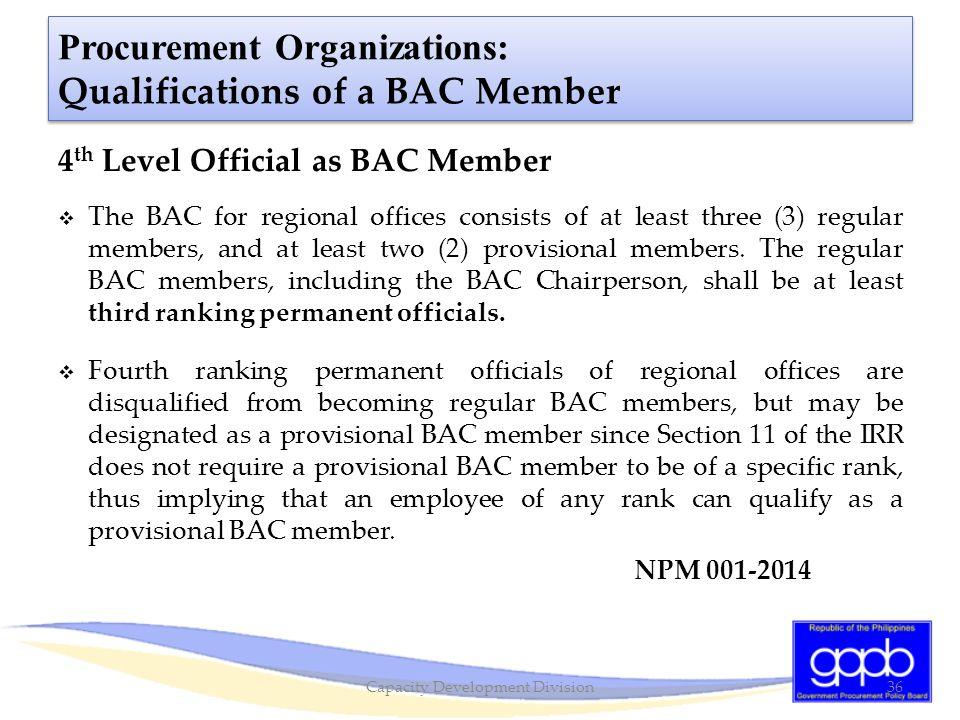 Procurement Organizations: Qualifications of a BAC Member