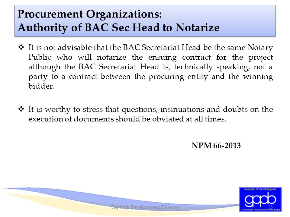 Procurement Organizations: Authority of BAC Sec Head to Notarize