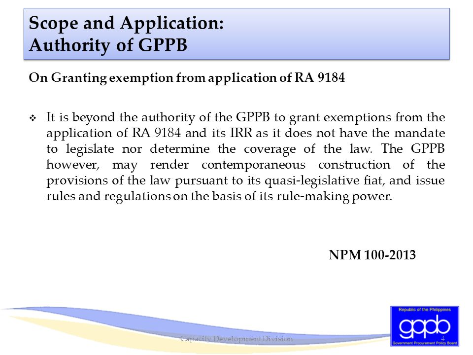 Scope and Application: Authority of GPPB