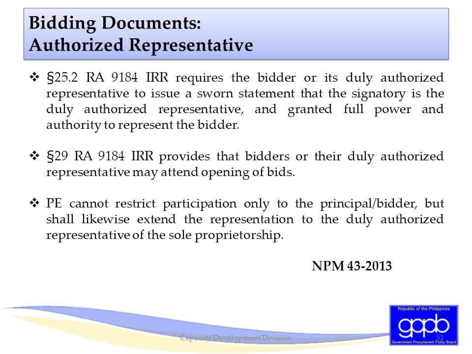 Bidding Documents: Authorized Representative