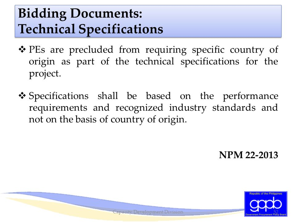 Bidding Documents: Technical Specifications